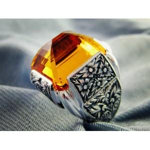 Nurullah Daştan Usta  Özel Tasarım Citrine Safir Stone Özel Kalemişi Gümüş Yüzük